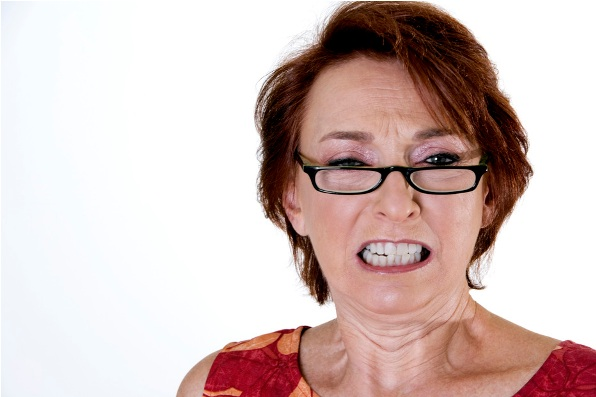 Lady clenching teeth