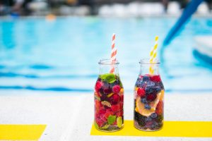 Detox water near the swimming pool